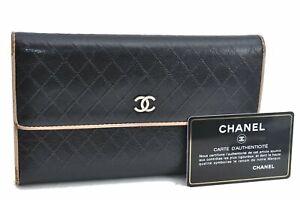 Authentic CHANEL Calf Skin Bicolore CC Logo Long Wallet Black E2351