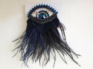 SPILLA OCCHIO coccarda perline handmade gioiello italia accessorio donna moderna