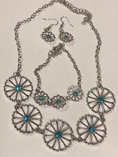 SILVER FLOWER NECKLACE/EARRINGS/BRACELET SET 20 INCH BLUE TOPAZ