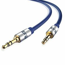 IBRA® 1.5M 3.5mm Stereo Headphone Audio Jack / AUX Gold Cable - Blue