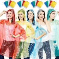 Juvale 20PCS Adults Emergency Disposable Rain Ponchos with Hood, 5 Colors