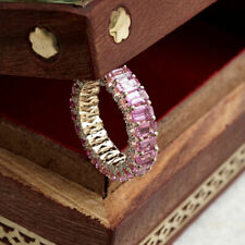2Ct Emerald Cut Pink Sapphire Full Eternity Wedding Band In 14k Rose Gold Over