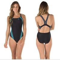Speedo Women's Quantum Power Flex Eco Splice High Cut Swimsuit Bali Blue Size 10