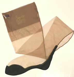 1PR VIintage Full Fashion BLACK FOOT Nylon Stockings from 1960s 8 1/2 L