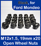 20 x Open Alloy Wheel Nuts for Ford Mondeo M12 x 1.5, 19mm Hex (Black)