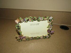 "Vintage Argento SC Enamel Swarovski Crystal Flower Picture Frame 4"" x 6"" NEW"