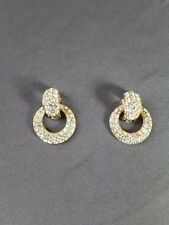 NOLAN MILLER Gold Tone clear Rhinestones Door Knocker Clip-On Earrings