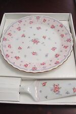 Andrea by Sadek cake plate and server, NIB, Petit Rose Pattern[a2]