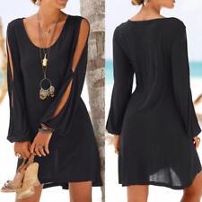 Women Casual Loose Hollow Out Sleeve Kaftan Beach Holiday Shirt Tops Mini Dress