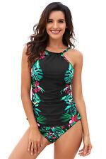 Women Tropical Flower Print 2 Piece Tankini Two Piece Swimsuit Set Swim Wear Set