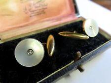 SUPERB PAIR OF ART DECO 9CT GOLD, PLATINUM, MOTHER OF PEARL & DIAMOND CUFFLINKS