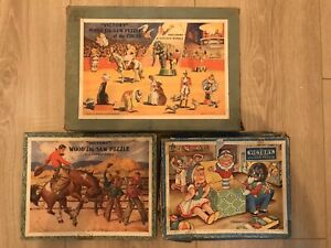 3 Rare Vintage Wood Victory Complete Jigsaw Puzzles Circus Cowboy Rodeo Jack Box