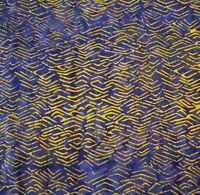 Batik Princess Mirah Design BTY Bali Fabrics Orange Crowns Dark Blue
