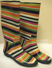 Coach Pammie Rubber Knee Boots Rainboots Legecy V Stripe Shoes SZ 9B Rain Boots