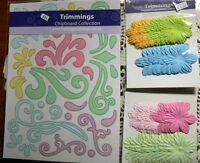 A4 CHIPBOARD Flourishes PASTEL Sheet GRN PINK BLUE LILAC Scrolls & 2 Flowers L6