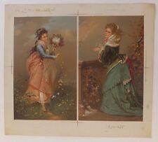 Chromolithographie Femmes XIXème Siècle Testu Massin