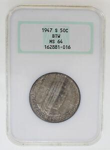 1947-S 50C BOOKER T. WASHINGTON COMMEMORATIVE SILVER HALF DOLLAR NGC MS64