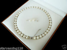 8mm AAA++ White South Sea Shell Pearl Necklace Earring Set 18""