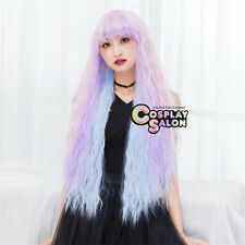 Long Curly 80CM Lolita Ombre Pink Purple Blue Women Cosplay Party Wig Neat Bangs