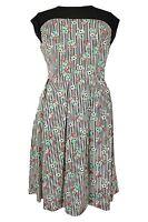 New Ladies Black White Stripe Floral Print Skater Dress Plus Size 16-28