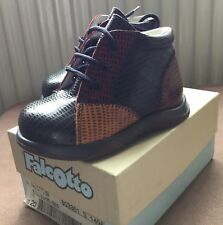 BNIB Baby Boys Falcotto Naturino Leather Shoes Size 4(20) Blue,red And Mustard.