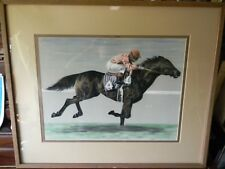 Large Original Pastel Drawing / PAINTING Striding Race Horse by GEORGE A. JOHNS