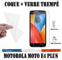 Coque Gel + vitre protection verre trempé film écran pr Motorola Moto E4 Plus