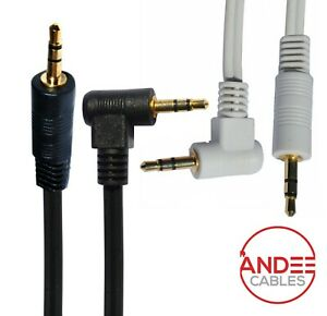 Jack Right Angled to Straight Cable Stereo AUX Audio 3.5mm Lead White Black Lot