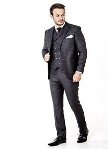 Mens Wedding Suit Slim fit Charcoal Grey checked 3 Piece Suit Wholesale Price