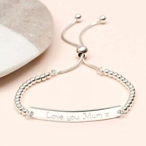 Personalised Womens ID Bracelet Any Engraving Silver Rose Gold Jewellery Gifts