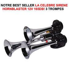165db! CLAXON HORNBLASTER 12V 3 TROMPAS HIPER DE GRAN ALCANCE 2KM MÍRELO VIDEO
