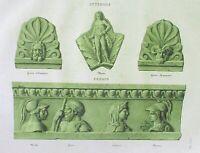 Ancient Rome Terracotta Tile-Plate III-Orig Folio Lithograph Campana Relief 1851