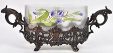 Antique Art nouveau 1900  french Hand paint glass floral Planter jardiniere