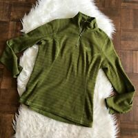 The North Face Womens Small Glacier 1/4 Zip Fleece Jacket Green Stripe Pullover