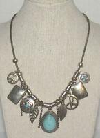 Vintage Southwestern Boho Hippie Charm Necklace Peace Sign Feather Silver Tone
