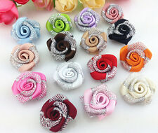 DIY 10-100 PCS silver Glitter Satin Ribbon Rose Flower Wedding Appliques,Craft