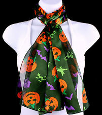Spooky Halloween Womens Scarf Pumpkin Bat Cat Gift Her Scarfs Green Scarves New