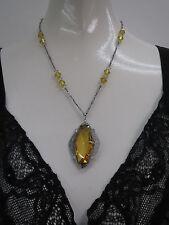 Vtg Art Deco 1920s Czeckoslovakian Citrine Colored Necklace Rhodium Filigree