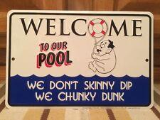 Welcome To Our POOL Funny Lifeguard Metal Tin Skinny Dip Man Cave Water Suntan