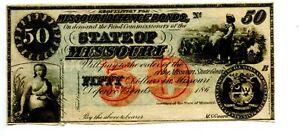 $50    1860s  State of Missouri Defense Bond.