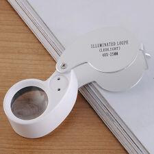 40X Magnifying Folding Magnifier Glass Jeweler Eye Jewelry Loupe Loop 2LED Light