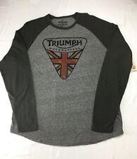 Lucky Brand Men's XL Gray Triumph Motorcycles UK Flag Badge Logo T-Shirt Tee NWT