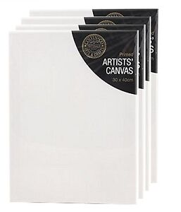 Pack of 4 Blank White Primed Artists Canvas With Wooden Frame 30 x 40cm x 1.7cm
