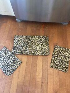 Ralph Lauren Aragon Leopard Queen Flat Sheet + 2 Standard Pillowcases Set of 3