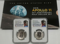 Apollo 11 50th Anniv 2019 Proof Half Set w/ Enhanced Rev PF Kennedy, NGC PF70