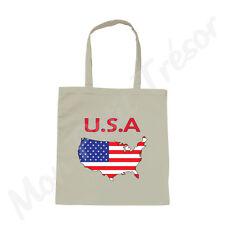 Sac Shopping blanc Carte des USA drapeau américain tote bag Etats-unis Amérique