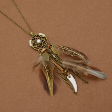 Dream Catcher Brown Feather Pendant Necklace Bohemian Women Fashion Jewelry