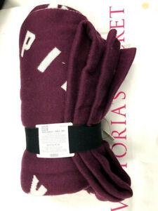 "Victoria's Secret Pink Logo Soft Cozy Blanket Throw 50"" X 60"" Burgundy NWT"