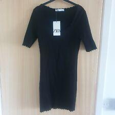 BNWT New Black Scalloped Detail Bodycon Dress Size L From Zara