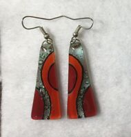 Hand Crafted Fused Glass Earrings -  Silver wires